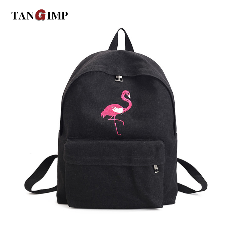 TANGIMP Women Canvas Backpack Embroidery Flamingo Rose Backpacks for Teenagers Women's Travel Bags mochilas Rucksack School Bag 2016 tribal ethnic embroidered floral canvas backpack women travel rucksack school bag for teenagers femme aztec backpack li82