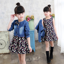 Baby Girls Clothing Spring/Autumn Explosion Models Suit Fashion Denim Jacket + Flower Dress Two-Piece Sweet Princess