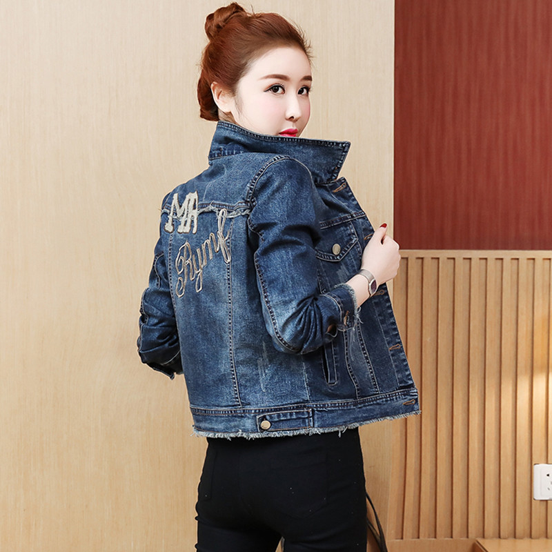 Spring Vintage Long Sleeve Slim Jeans Coat Women Autumn Embroidered Casual Outwear New Short Harajuku   Basic     Jacket   Plus Size 5XL