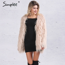Simplee Elegant faux fur coat women Fluffy warm long sleeve female outerwear Black chic autumn winter coat jacket hairy overcoat