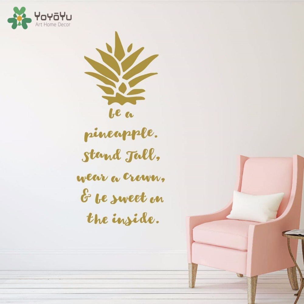 YOYOYU Wall Decal Pineapple Wall Sticker For Kids Rooms Fruit Pattern Nursery Bedroom Art Mural Hawaiian Tropical Words DIYSY679