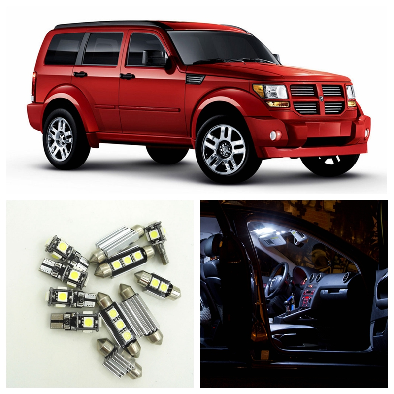 8pcs Canbus White Car LED Light Bulbs Interior Package Kit For 2007 2008 2009 2010 2011 Dodge Nitro Map Dome License Plate Lamp car rear trunk security shield cargo cover for jeep compass 2007 2008 2009 2010 2011 high qualit auto accessories