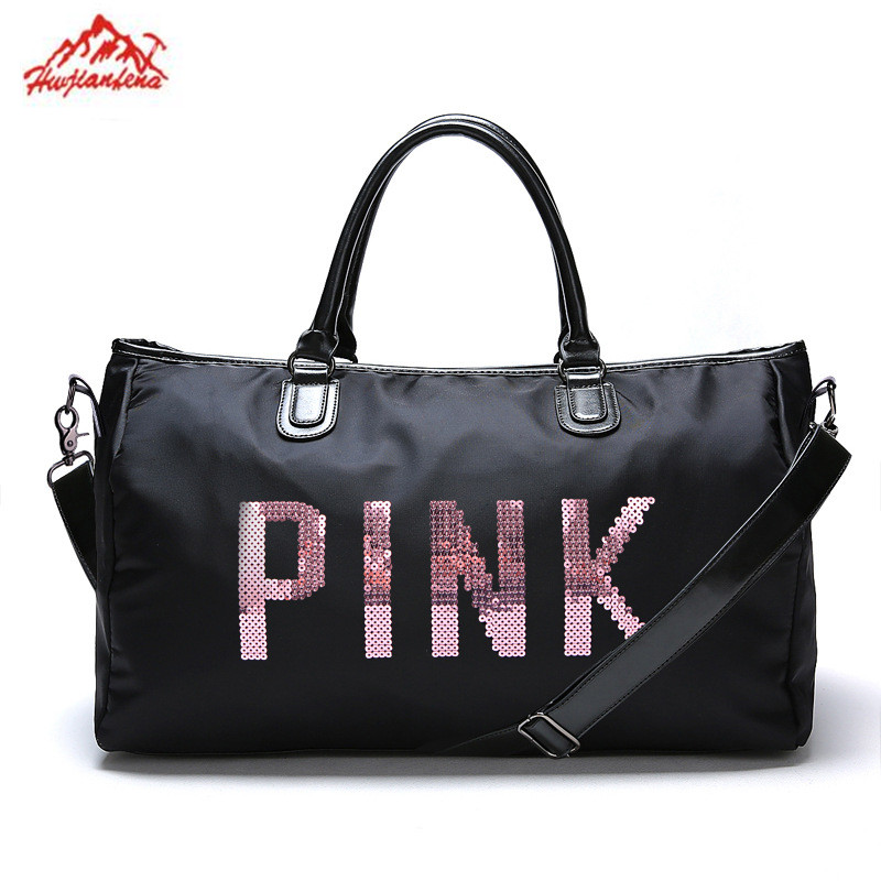 2adb8827dab3 US $20.17 25% OFF|Designer Metal Sequins letters Gym bag for women large  sport fitness bag Women Tote Handbag Travel Duffle Bolsa-in Gym Bags from  ...