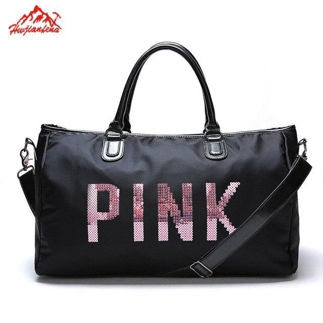 Designer Metal Sequins Letters Gym Bag For Women Large Sport Fitness Tote Handbag Travel