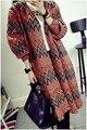 2017 Hot Sale Women's Sweaters Cardigan Fashion Cardigans Orange Multiple Wavy Stripes Open Front Cardigan LC27597