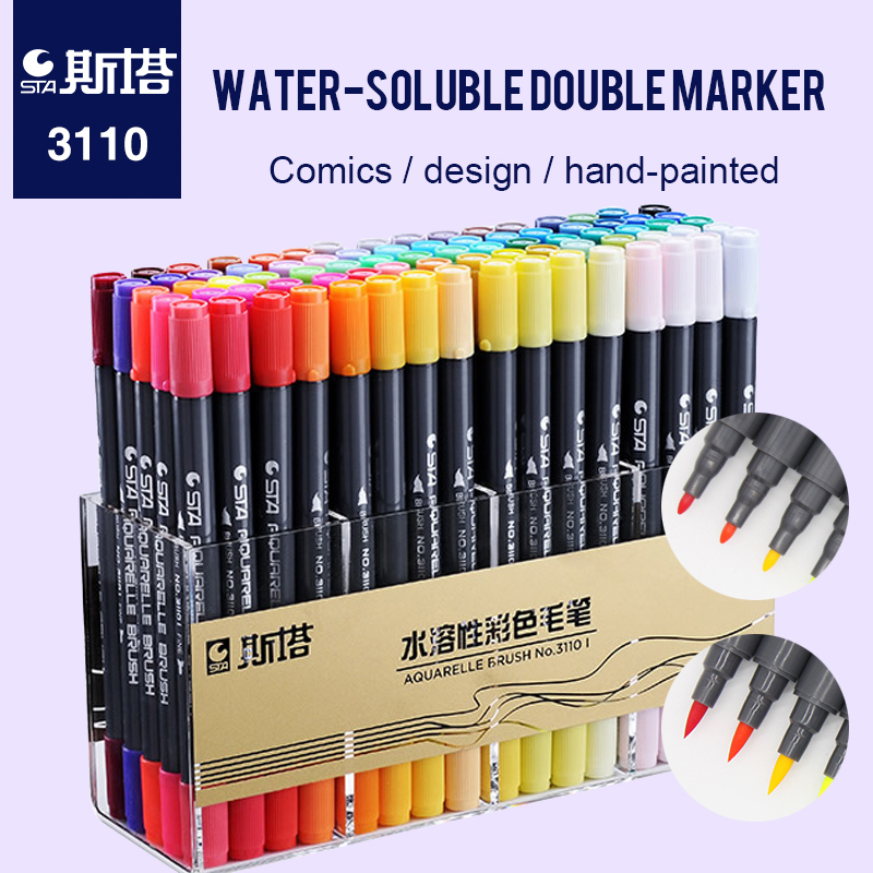 STA 80 Color Markers Pen For School Double Hand Drawing Pen For Manga Design School Stationery Watercolor Brush Pen touchnew 60 colors artist dual head sketch markers for manga marker school drawing marker pen design supplies 5type