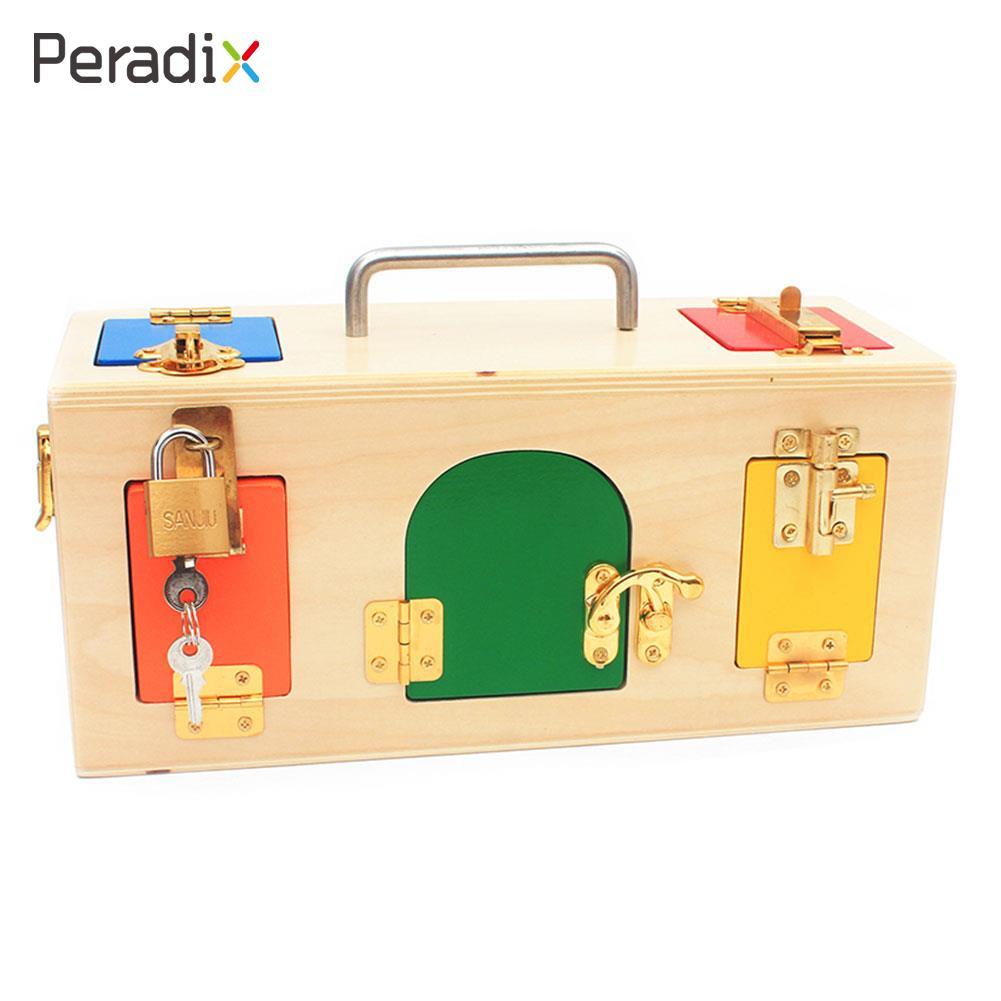 Montessori Serrure Montessori Matériaux Serrure Serrure Boîte Jouet Animations L'éducation Haute-Performance Boîte En Bois Enfant Coloré