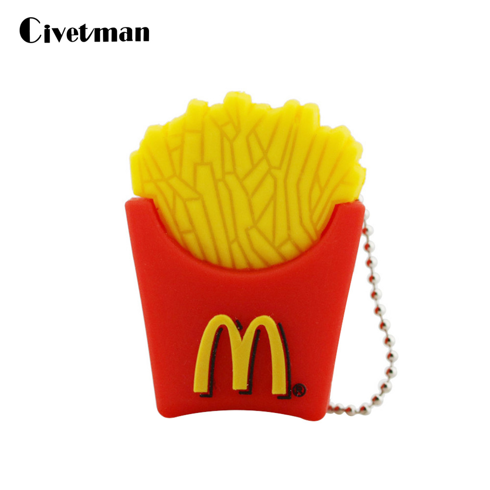 USB Flash Drive Cartoon Mcdonald Chips USB 2.0 Flash Drive 8GB 16GB 32GB 64GB 128GB Pendrive USB Memory Stick Disk