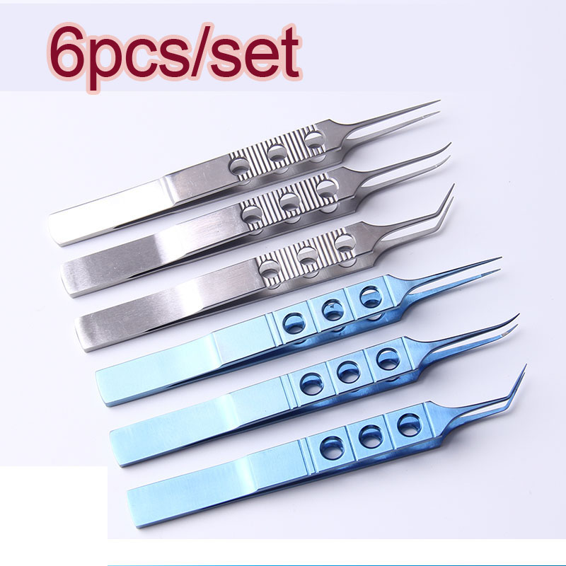 6pcs/set Micros Stainless Steel Titanium Alloy 11CM Dovetailed Straight/bend Head Tweezers Platforms Tweezers Ophthalmic Forceps