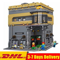 DHL модульная MOC Лепин 15015 5003 шт. город улица динозавра музей модель здания Наборы набор блоков Кирпич игрушка