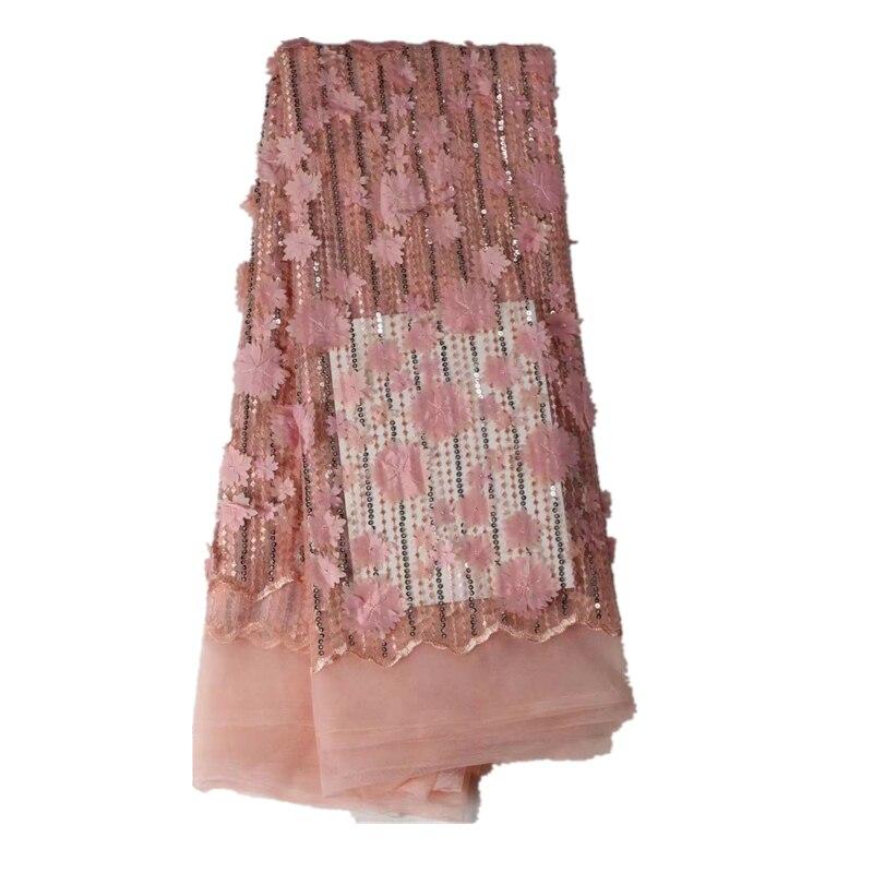 Последние блестки 3D цветка африканские ткани Французский Тюль с бисером вышитые в нигерийском стиле сеточку кружева Материал