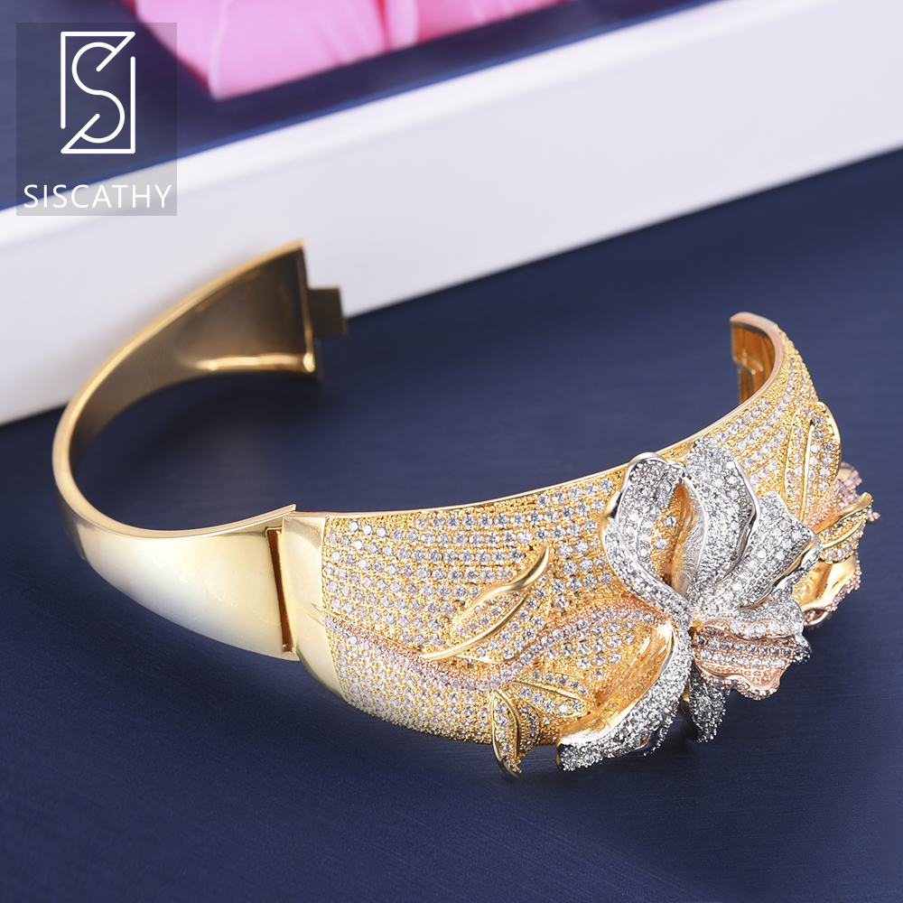 SISCATHY Classic Wide Band Bracelet Ring Jewelry Sets Full Cubic Zirconia Flower Shape Inlaid Nigerian Wedding Jewelry Sets 2019 in Jewelry Sets from Jewelry Accessories