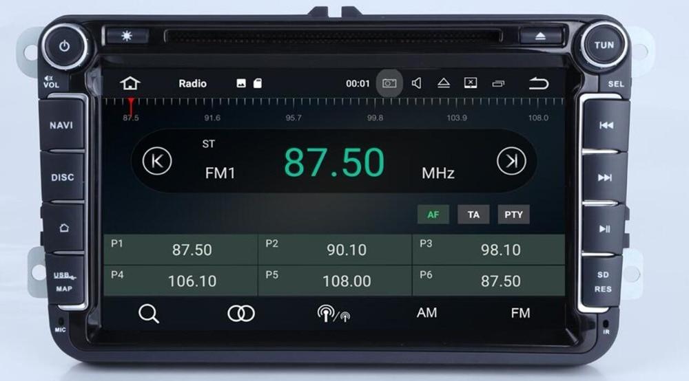 Lecteur multimédia de voiture 8 'ips deux Din autoradio Android 8.1 pour Skoda/Seat/Volkswagen/VW/Passat b7/POLO/GOLF 5 6 DVD GPS 4 cœurs