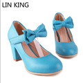 LIN KING Lady Sweet Bowtie Lolita Cosplay Party Shoes Women Shoes High Heel Fashion Round Toe Women Pumps Platform Plus Size