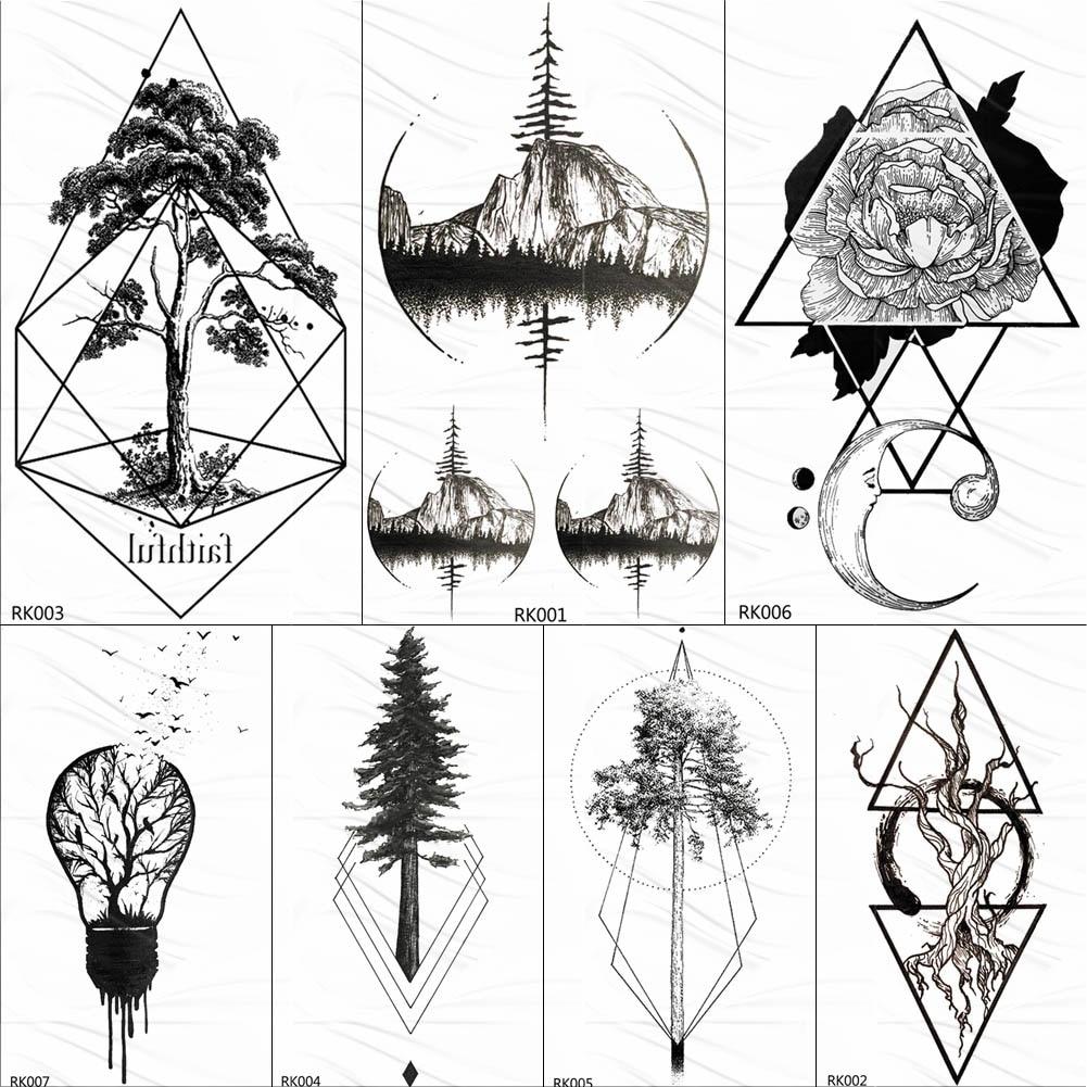 OMMGO Tgeometric Round Flora Emporary Tattoos Sticker Black Pine Tree Diamond Custom Tattoo Body Art Fake Tatoos Moon Mountain