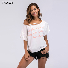 PGSD New Simple Fashion Big size Women Clothes summer Loose Letter Printing Bat sleeve Short-sleeved strapless T-shirt female