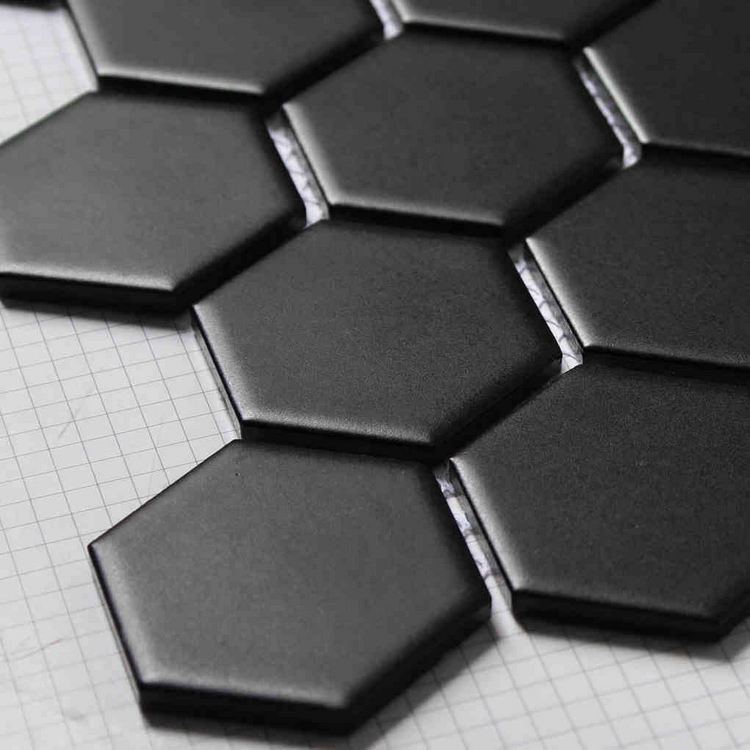 Matt Hexagon Ceramic Mosaic Tiles Black Color For Living Room Bathroom Shower Kitchen Backsplash Hallway