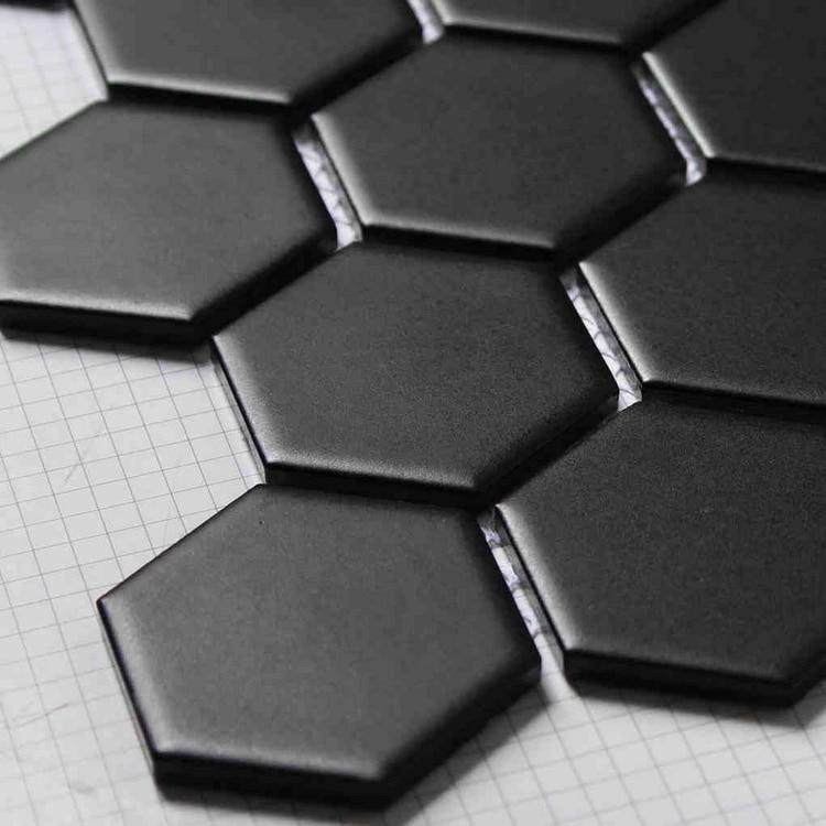 matt hexagon ceramic mosaic tiles black color for living room bathroom shower tiles kitchen backsplash hallway
