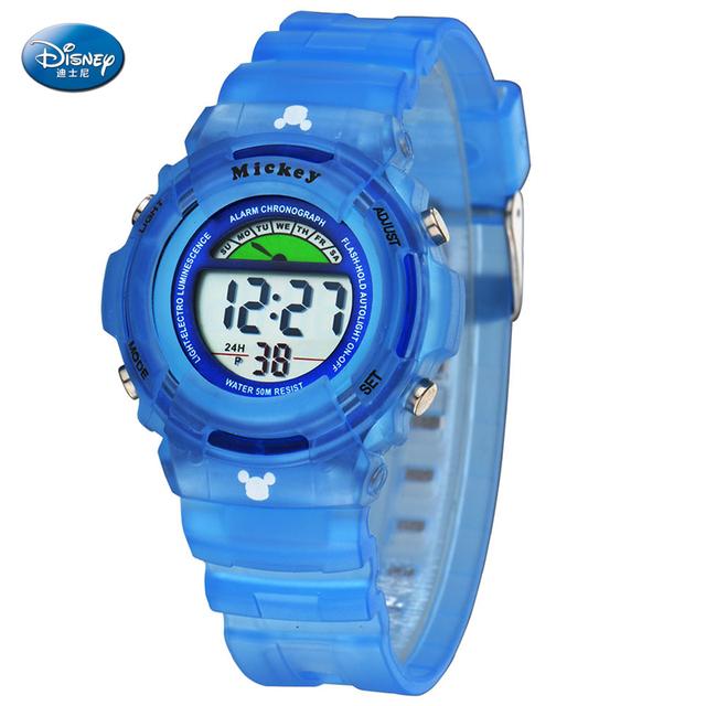 Disney Moda Hombre Mujer Reloj Electrónico LCD Digital Banda de Silicona LED Reloj de pulsera Reloj Deportivo Relojes Relojes A Prueba de agua