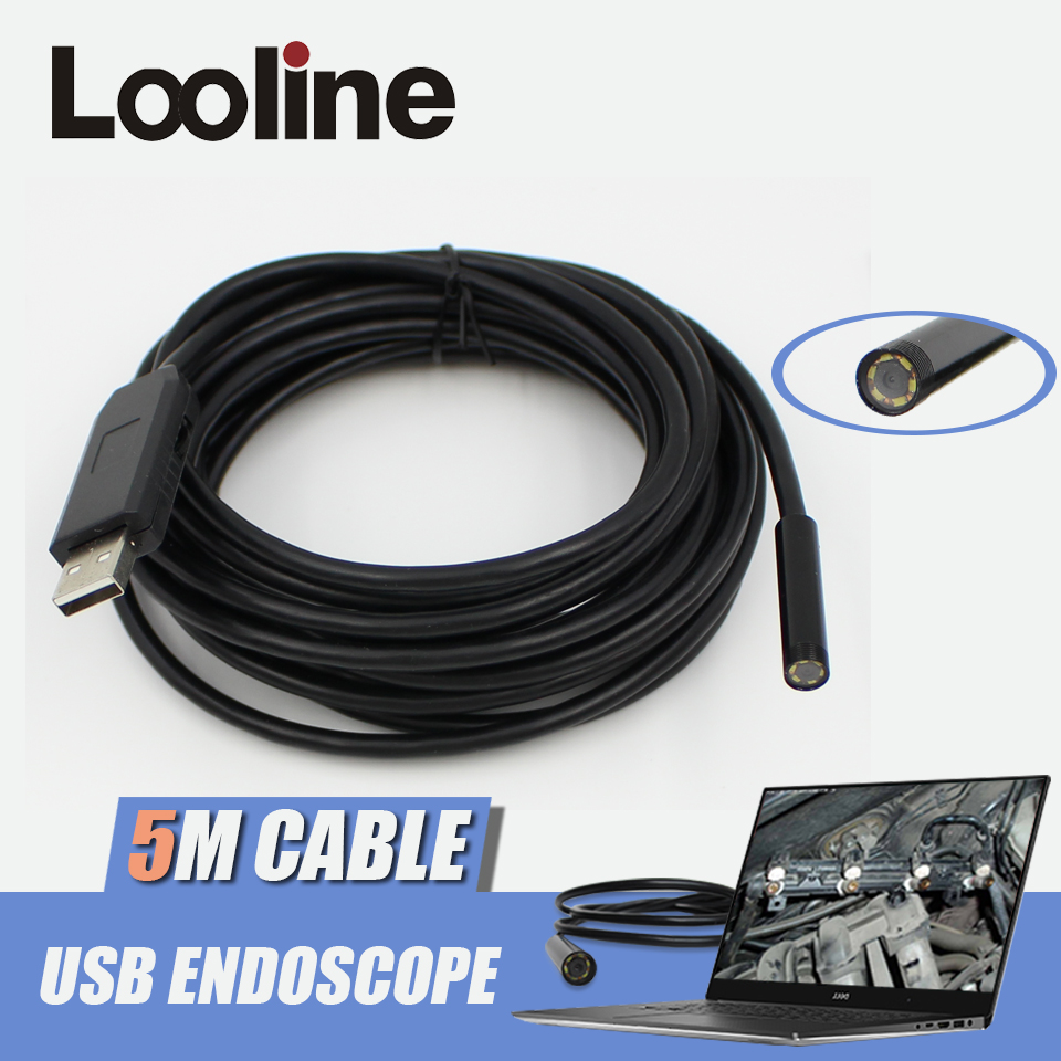 6 LEDs 7mm Endoscope USB Camera IP67 Waterproof Tube Snake Borescope Car Inspection Sewer Camera With 5M Cable For PC Windows supereyes 3 5 monitor waterproof borescope videoscope 9mm diameter 800mm snake tube endoscope camera with led inspection n012j