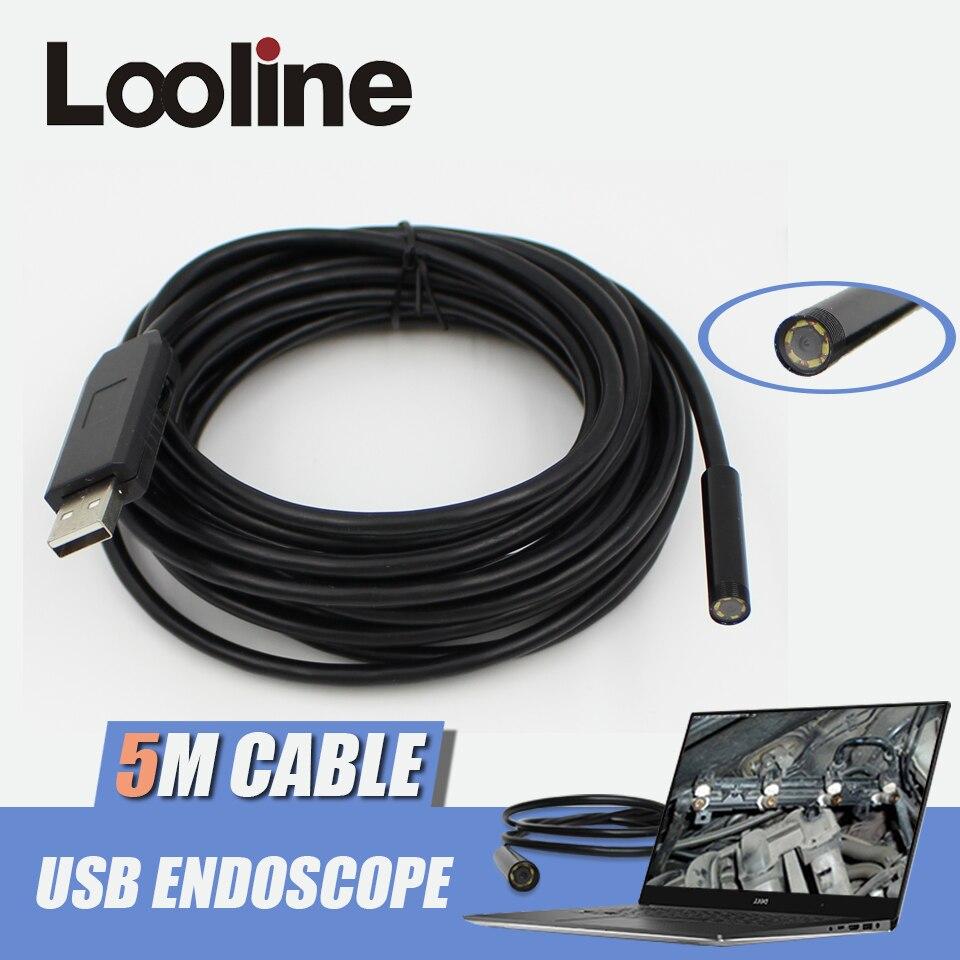 imágenes para 6 LEDs de 7mm Endoscopio USB Cámara IP67 Tubo Impermeable de la Serpiente Alcantarillado Cámara de Inspección boroscopio Coche Con 5 M de Cable Para PC ventanas