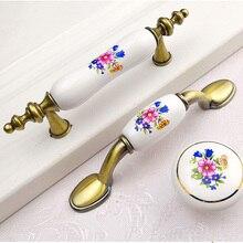 цены European-style green ceramic handles pastoral wardrobe door kitchen door handle hardware antique furniture drawer handle