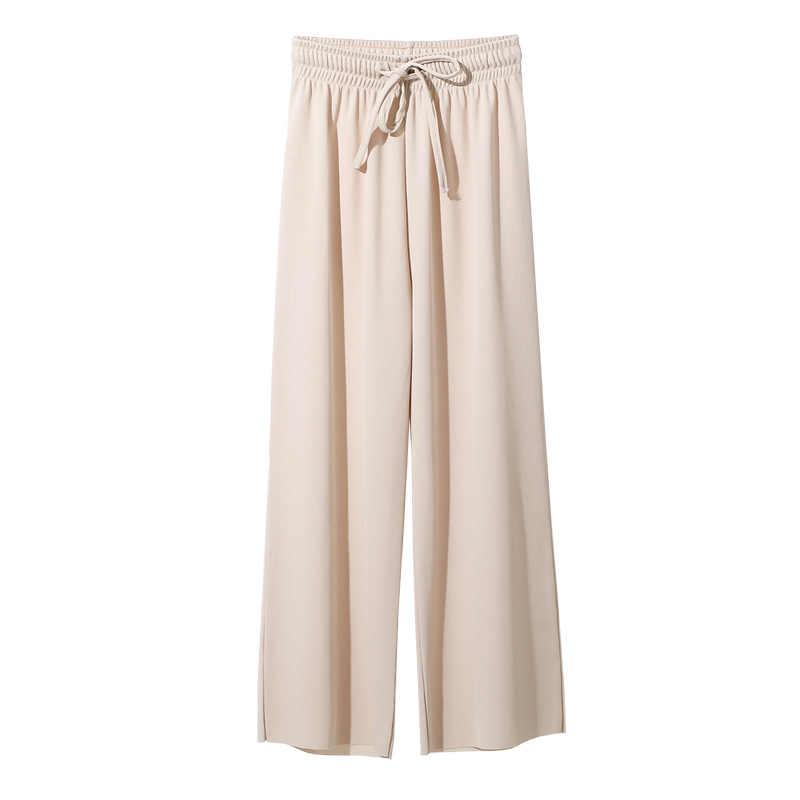 여성 여름 부드러운 실크 니트 넓은 다리 바지 카키 느슨한 발목 길이 바지 캐주얼 탄성 허리 높은 허리 스트레이트 바지