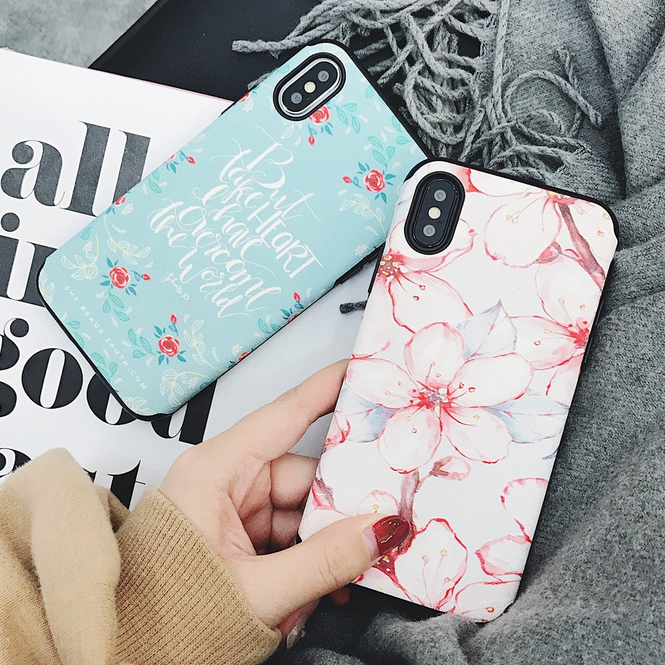 XBXcase Luxury Flower Phone Case For iPhone X 6S 6 7 Plus PU+TPU Soft Matte Back Cover for iPhone 7 Plus 8 Plus Floral Case Bag