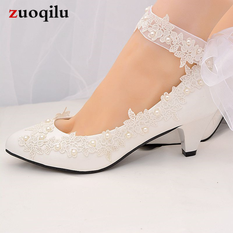 Wedding White Pumps: 2019 White Wedding Shoes Woman Ankle Strap High Heels