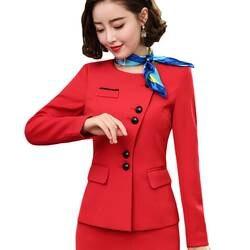 Плюс размеры для женщин костюмы Красный работы Блейзер с пуговицами куртки и для офисные женские туфли Бизнес официальная одежда 5XL 6XL 7