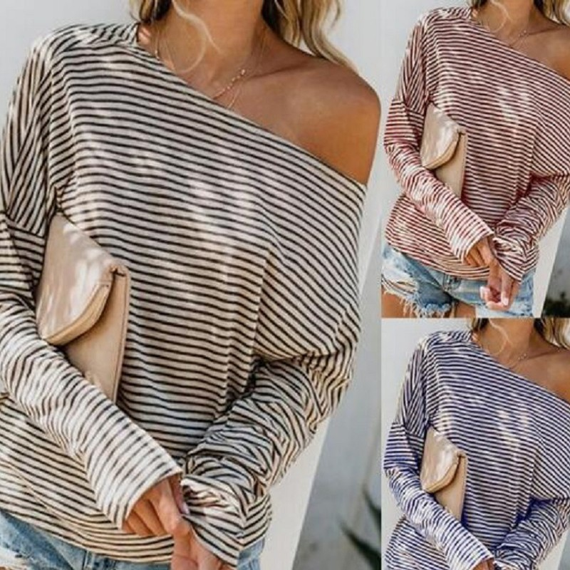 ENXI Sexy Off Shoulder Nursing Tops Maternity Clothes Fashion Tops Pregnancy Clothing Autumn Spring Casual Striped Clothing
