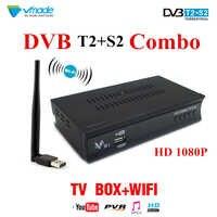 Digital terrestre TV vía satélite recibidor compatible con AC3 powervu Biss clave CCcam IPTV DVB-T2 DVB-S2 V7S auricular receptor de satélite