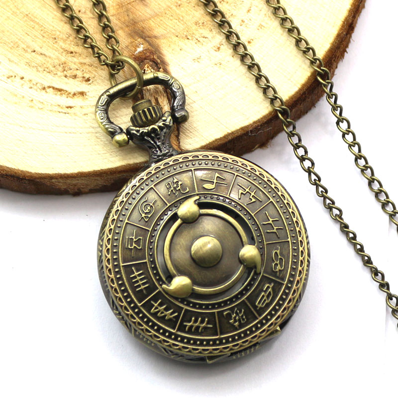 Free Drop Shipping Antique Bronze Naruto Theme Quartz Pocket Watch With Necklace Chain Gift To Boys Kids