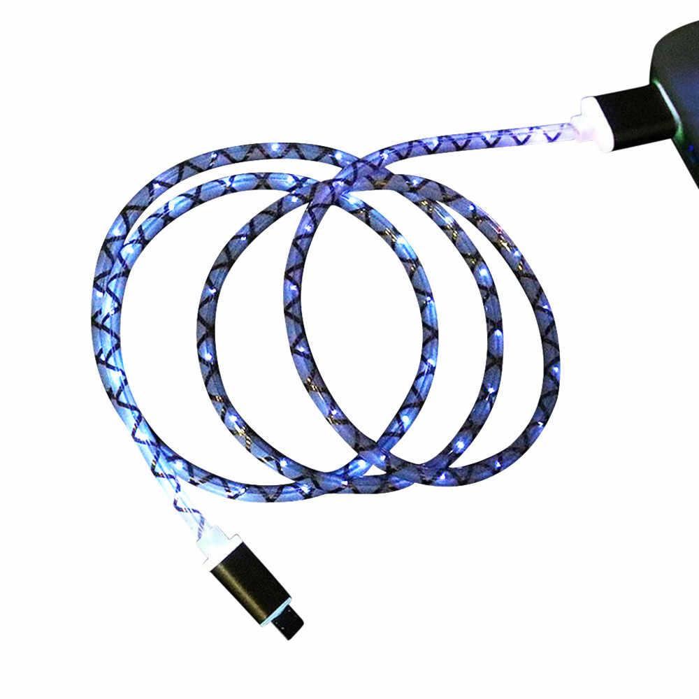 تضيء كابل يو اس بي مزامنة البيانات شاحن الحبل النسيج للهاتف أندرويد V8 2A مضفر الألومنيوم المصغّر usb البيانات والمزامنة