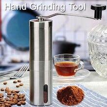 Paslanmaz çelik el kahve çekirdeği değirmeni manuel kahve makinesi el makine gümüş yüksek kalite ücretsiz kargo