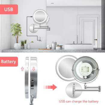 Led Makeup Mirror With Light Folding Wall Vanity Mirror 1x 10x Magnifying Double Sided Touch Bright Adjustable Bathroom Mirrors 5