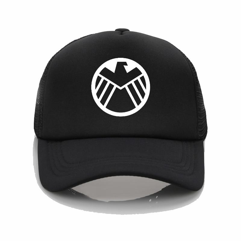 Fashion Hat Marvel Agents of S.H.I.E.L.D. Shield printing net cap baseball  cap Men women Summer Cap New Youth sun hat-in Baseball Caps from Apparel ... b1f8aea254a