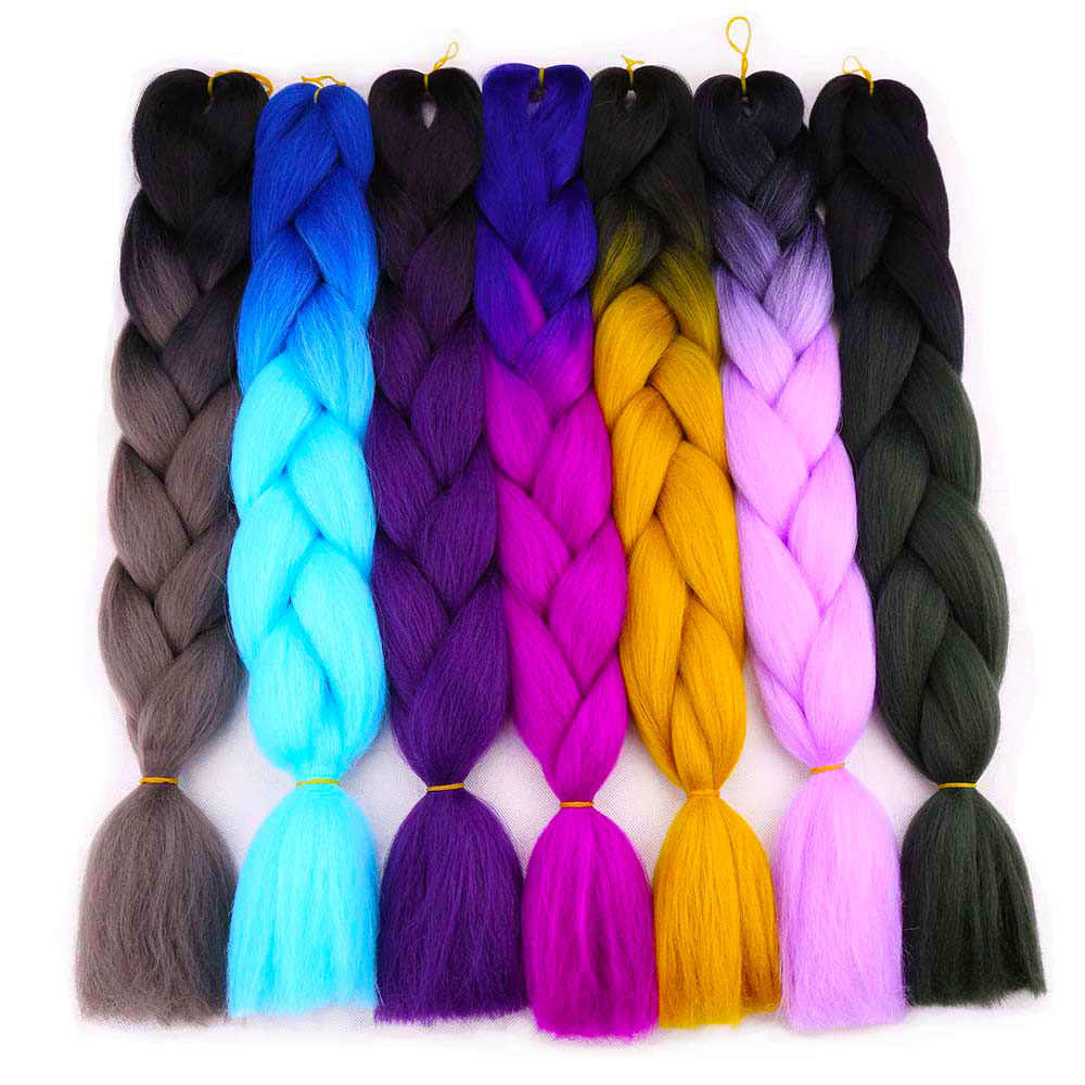 Hair Extensions & Wigs Falemei 24 100g Expression Jumbo Braiding Hair Kanekalon Braiding Hair Purple Green Synthetic Hair Braiding 29colors