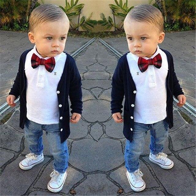 Мода 2016 Осень Дети Одежда Мальчики 3 шт. Набор Опрятный Стиль Блузка + рубашка + Джинсы + Галстук Костюм Мальчика Комплект Одежды bebe