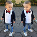 Moda 2016 Crianças Roupas de Outono Meninos 3 pcs Set Estilo Preppy Blusa + Calça Jeans camisa + + Gravata borboleta Terno Do Bebê Menino Conjunto de Roupas de bebe