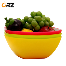 ORZ Set of 3 PP Pasta Salad Bowl Colorful Fruits Vegetables Plastic Mixing Bowl Snack Candy Dish Kitchen Tableware Food Pot