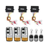 Marsnaska 3 Wireless Winch Remote Control Set Kit 12V For Truck Jeep SUV ATV