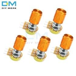 5 шт., 3-контактный поворотный потенциометр WH148 с колпачками из алюминиевого сплава, 1K 5K 10K 20K 50K 100K 500K Ом, линейный конический Потенциометр 3P 3Pin