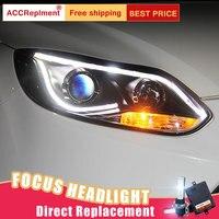 2 шт Светодиодный фар для Ford Focus 2012 светодиодный огни автомобиля глаза ангела xenon HID комплект протовотуманная подсветка Габаритные огни