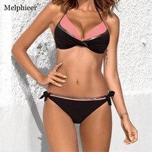 Melphieer Patchwork Swimsuit Bronzing Bikini Set Plus size Swimwear XXL Push up Swimming Suit For Women Strappy Bathing suits