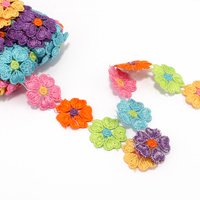 1 pack = 15 mètres Tricot Non-stretch Dentelle pour Femmes Vêtements Ornements Armure Fleur Dentelle Garniture Ruban pour les Filles Cheveux Accessoires