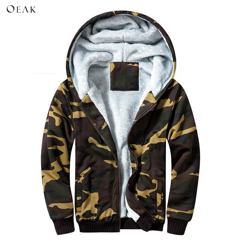 Oeak Camouflage Printed Winter Thick Jacket Men Fleece Zipper Men Hooded Warm Male   Parkas   Warm Outwear Coat manteau homme hiver