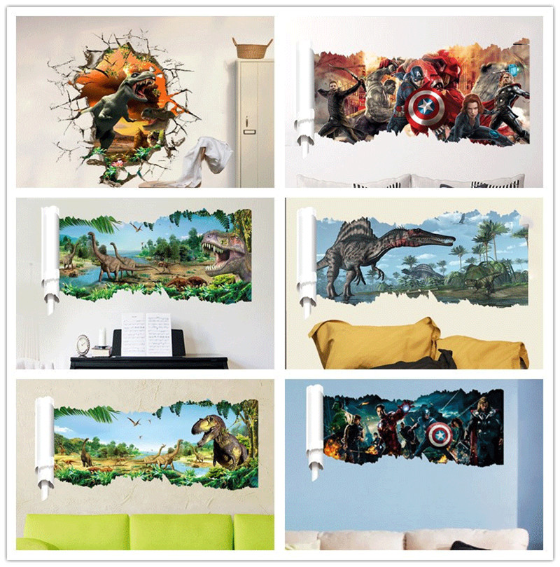 Cartoon movie dinosaur wall sticker super hero wall decals for Dinosaur wall decals for kids rooms
