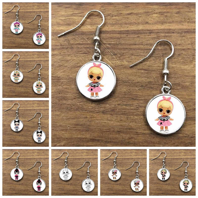 16mm Cartoon Dolls Earrings Cute Baby Glitter Princess Dress Dolls Glass Dome Stud Earrings Anime For Kid's Birthday Gift
