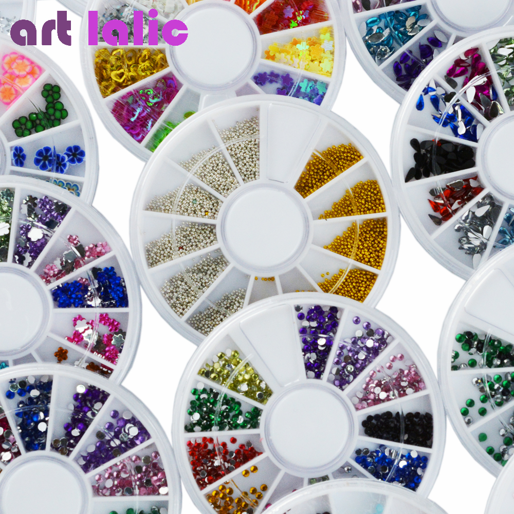 20 Pcs Set Wheel Assorted Nail Art Phone DIY Glitter Rhinestones Glitter Pearl Crystal for Gel Polish Acrylic Tips Decoration 1 box about 12000pcs ss6 2mm 12color acrylic non hot fix rhinestones diy 3d nail art glitter decoration manicure nail tips